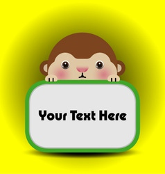 baby monkey with place your text here vector image vector image