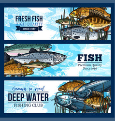 Banners for fishing or fisherman club vector