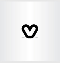 Black letter v sign symbol vector