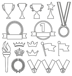black line flat award trophy icons variable vector image