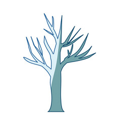 Blue shading silhouette of dry tree vector