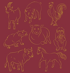 Bull cock goat horse monkey pig rat sheep vector image vector image