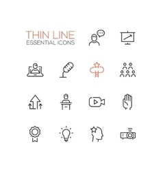 Business Training - Thin Single Line Icons Set vector image vector image