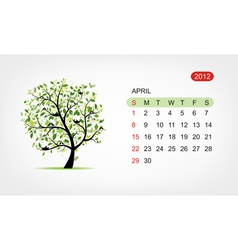 Calendar 2012 april art tree design vector