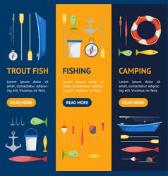 cartoon fishing banner vecrtical set vector image