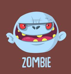 Cartoon funny gray zombie head vector