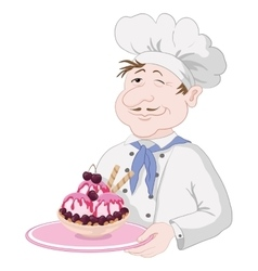Chef with Ice Cream and Cherry Berries vector image
