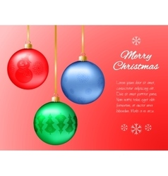 Christmas card with red blue and green pendants vector