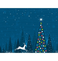 Christmas tree in forest of alders and one running vector