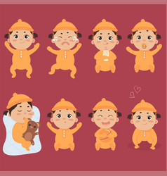 Cute little baby in footies with different vector