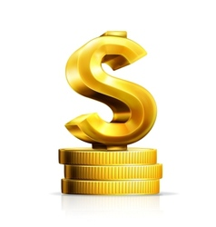 Dollar sign and coins vector image