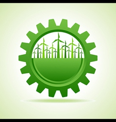 Ecology concept - gear with wind mill vector