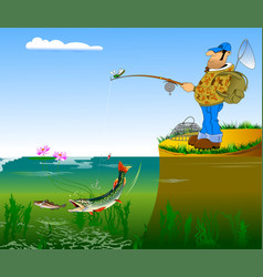 fisherman and pike vector image vector image