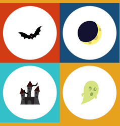 flat icon halloween set of fortress crescent vector image vector image