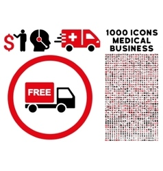 Free delivery rounded icon with medical bonus vector