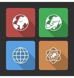 Globe earth icons set with long shadow vector