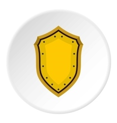 Golden shield icon flat style vector image