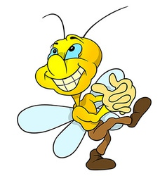 Happy yellow bug vector