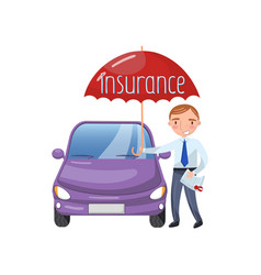 insurance agent standing with umbrella protecting vector image