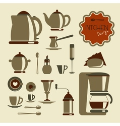 Kitchen utensil for coffee and tea vector image vector image