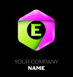 Letter e logo symbol in colorful hexagonal vector