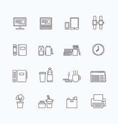 linear web icons set - business office tools vector image