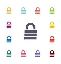 lock flat icons set vector image