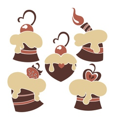 lovely cakes and sweets vector image vector image