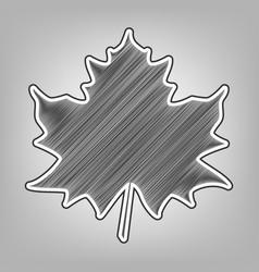 Maple leaf sign pencil sketch imitation vector