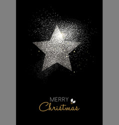Merry christmas silver glitter star holiday card vector