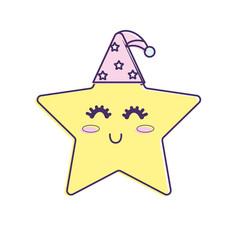 nice star shiny with sleep hat design vector image vector image