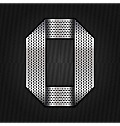 Number metal chrome ribbon - 0 - zero vector image vector image