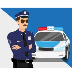 Policeman and police car vector image