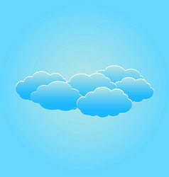set of fluffy white clouds on the light blue sky vector image
