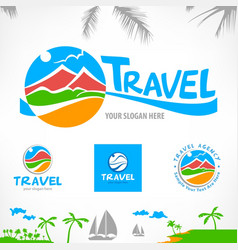 set of travel symbols vector image vector image