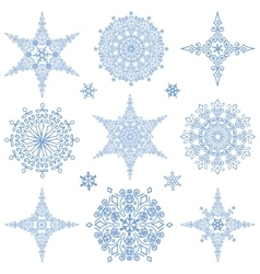 Snowflakes shapes collectionWinter iconStar vector image vector image