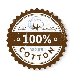 Stamp with cotton plant and text design vector image vector image