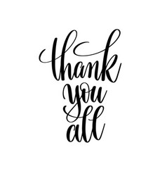 Thank you all black and white hand written vector