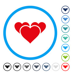 valentine hearts rounded icon vector image vector image