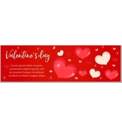 Valentines Day banner with realistic 3D heart vector image