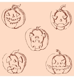 Pumpkin for halloween pencil drawing by hand vector