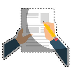 Sticker shading hands writing in a sheet with vector