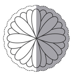 Silhouette flower with petals icon vector