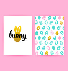 Easter bunny hipster posters vector