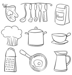 kitchen equipment set doodle style vector image