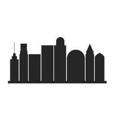 Black silhouette city landscape with buildings vector