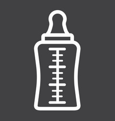 Baby bottle line icon milk and nipple vector
