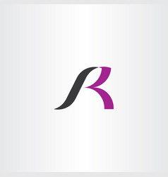 Black purple logo r letter icon vector