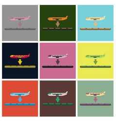 Set of icons in flat design for airport plane vector