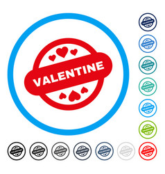 Valentine stamp seal rounded icon vector